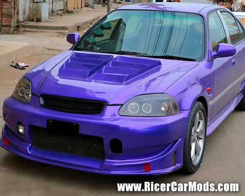 Purple EK Civic Sedan looking pretty ricey